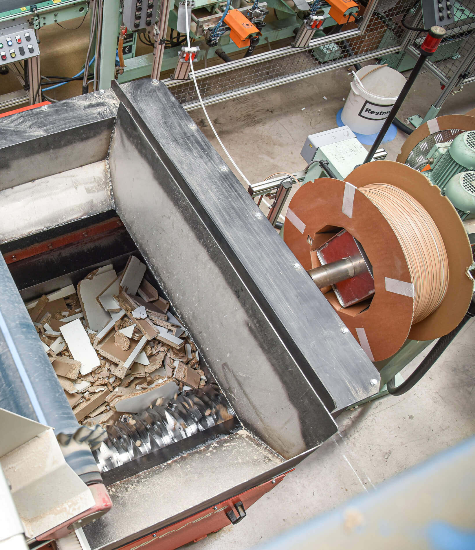 Sustainability: View into the shredder hopper