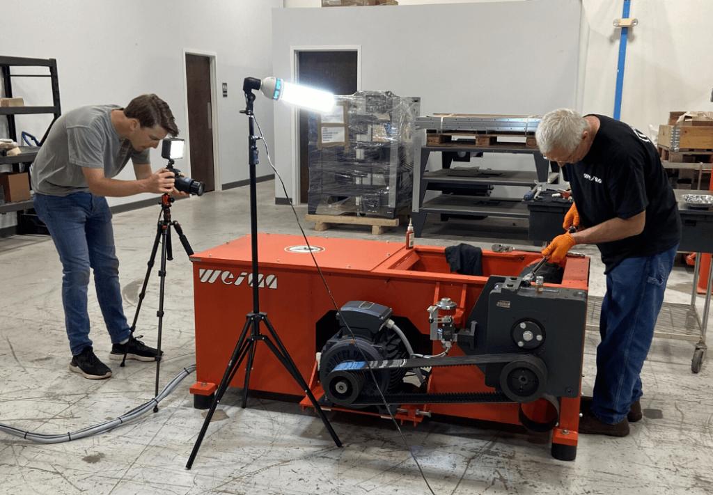 Video Design Intern films a technical instructional video with WEIMA shop technician