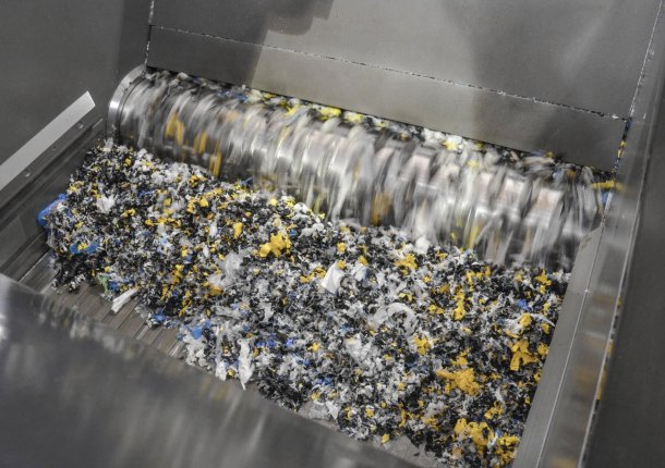 Rotor zerkleinert Kunststoff Folien Abfall