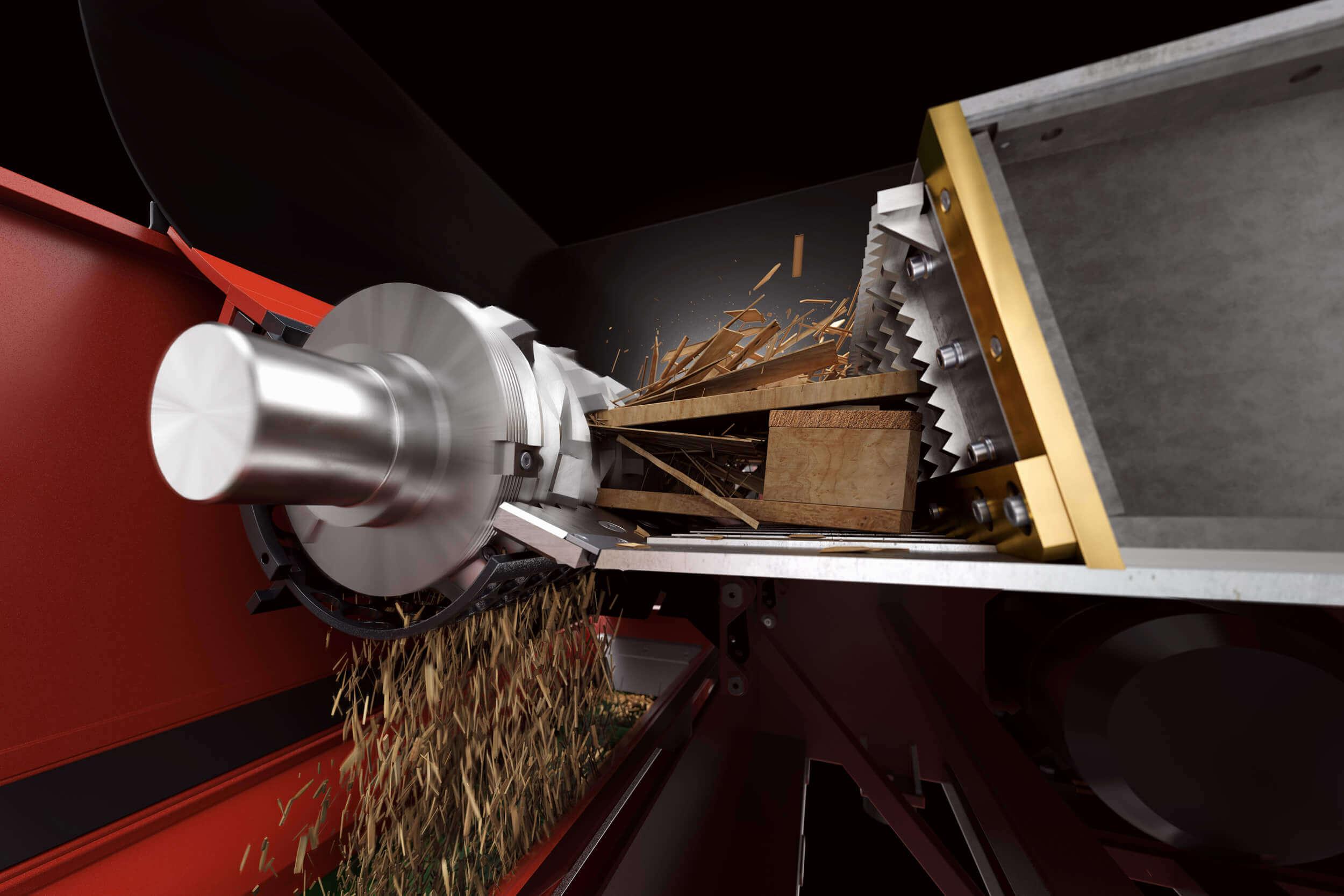 Gerendertes Bild des Zerkleinerungsprozesses mit Schublade, Rotor, Sieb und zerkleinertem Holz