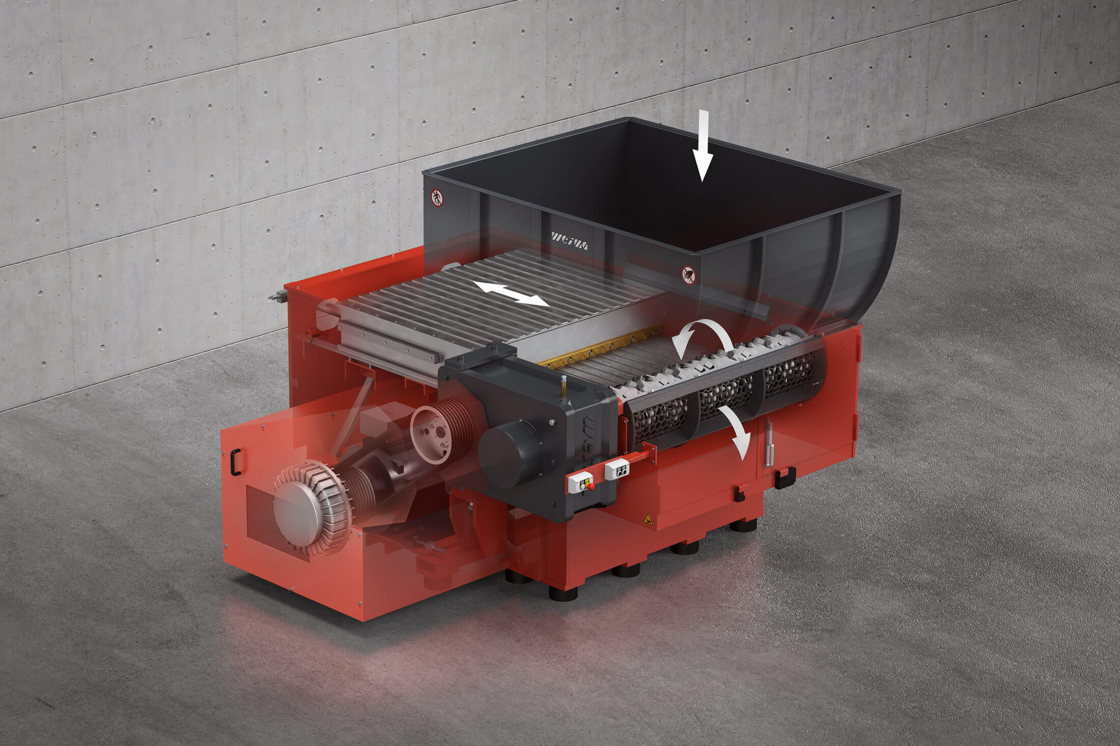 Rendered image of WEIMA WLK 1500 single-shaft shredder with X-Ray view of the machine components