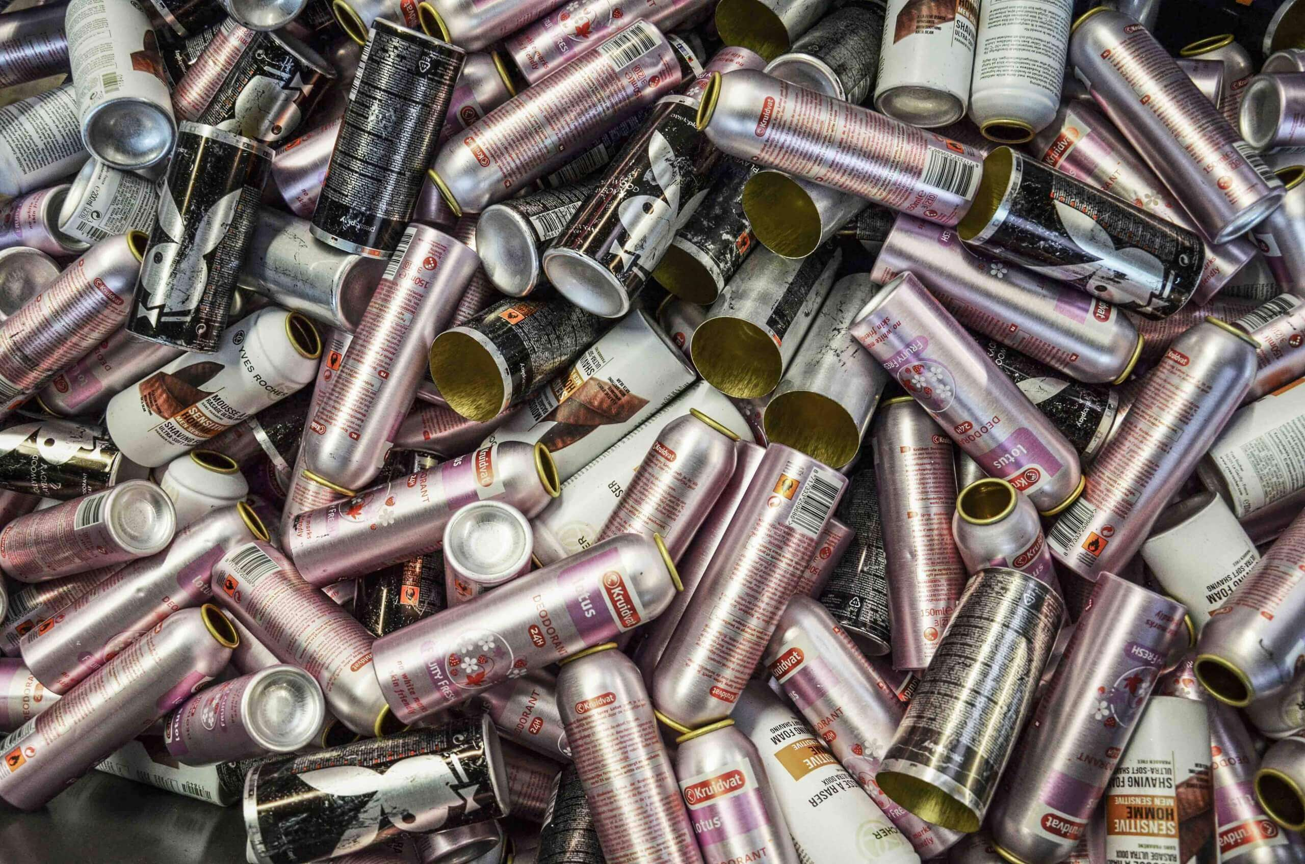 Deodorant cans in a pile