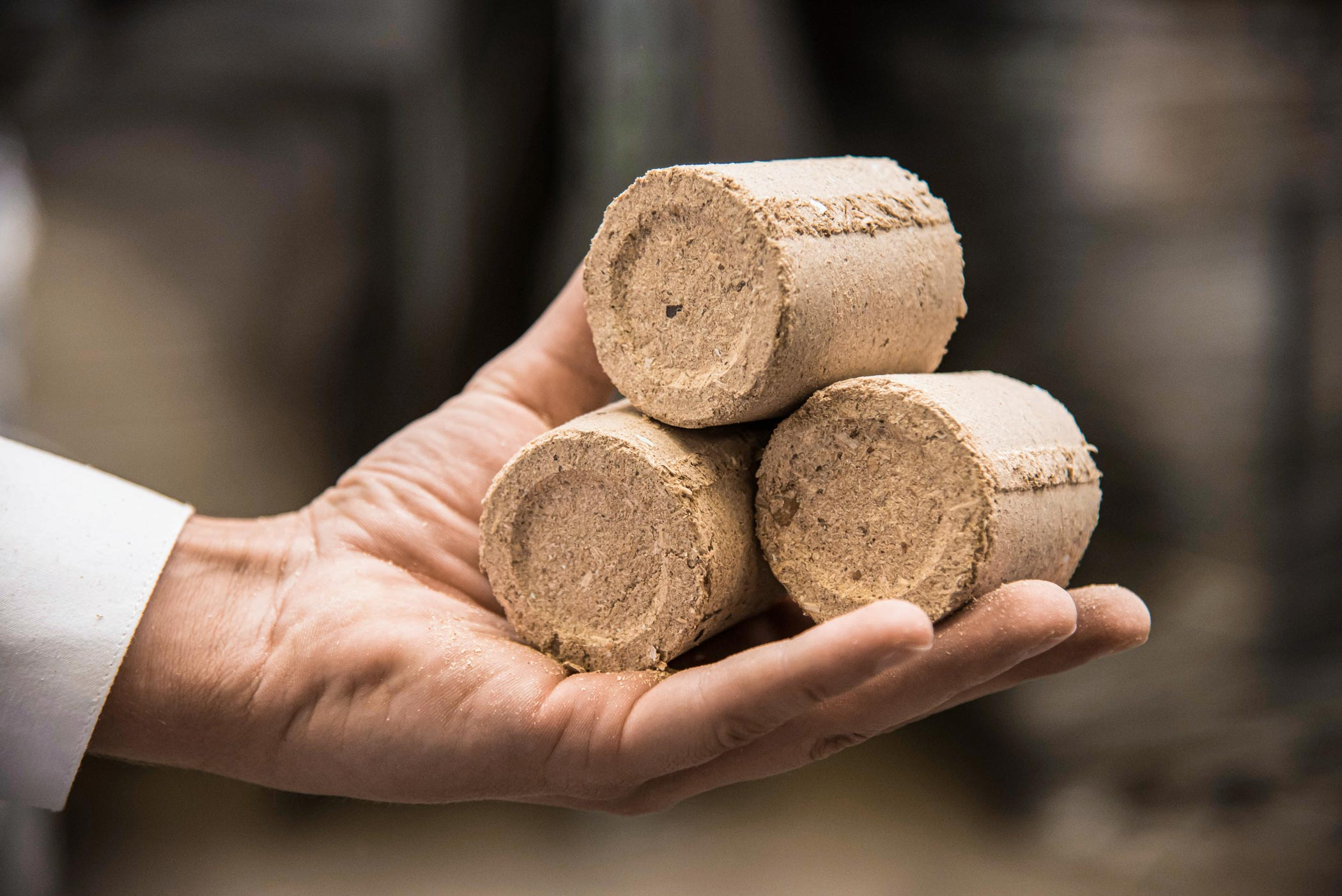 Round briquettes from wood chips are practical to handle