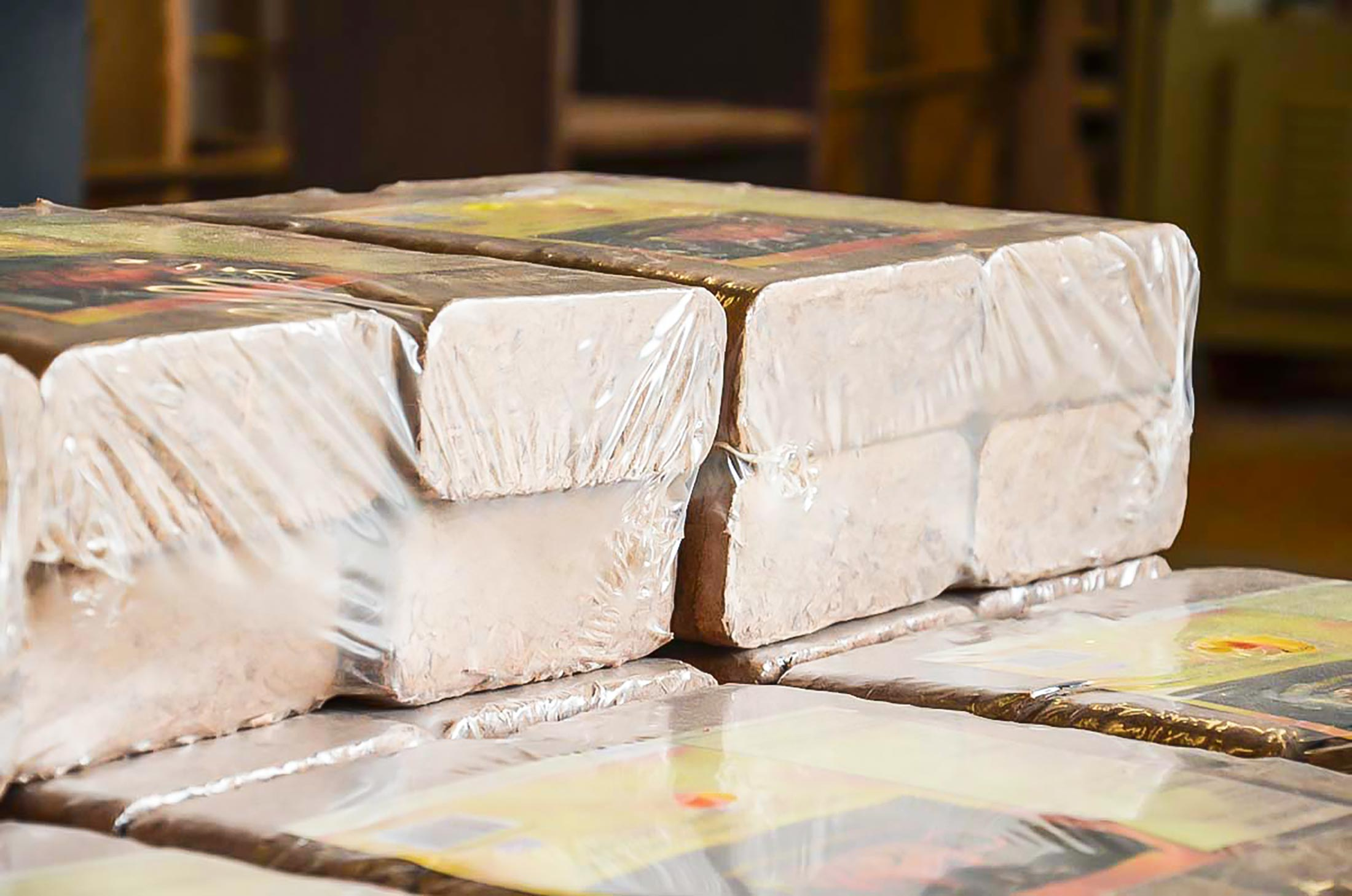 Shrink-wrapped briquettes from wood chips for sale