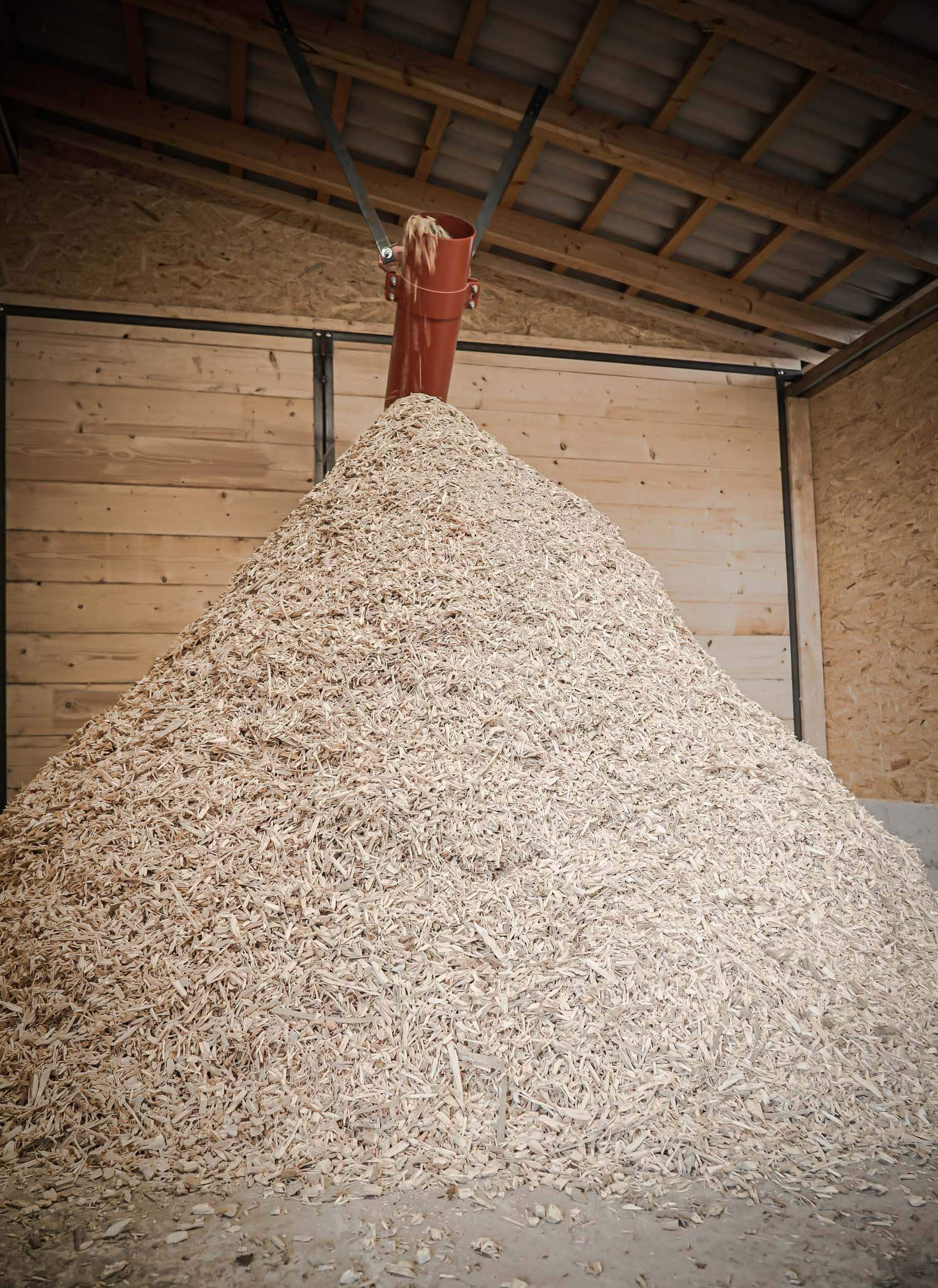 Chip bunker with screw conveyor and heap with wood chips
