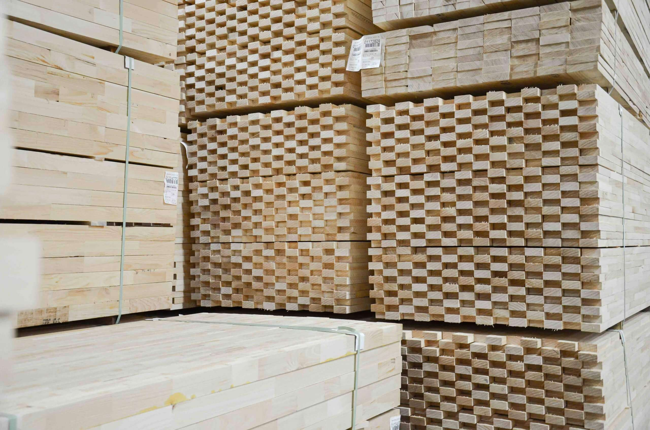 Stacks of wood cuttings