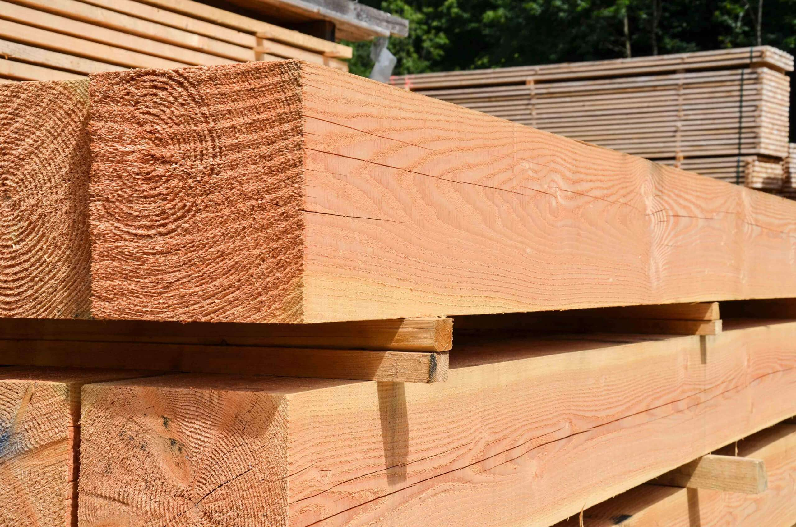 Solid squared timber before shredding