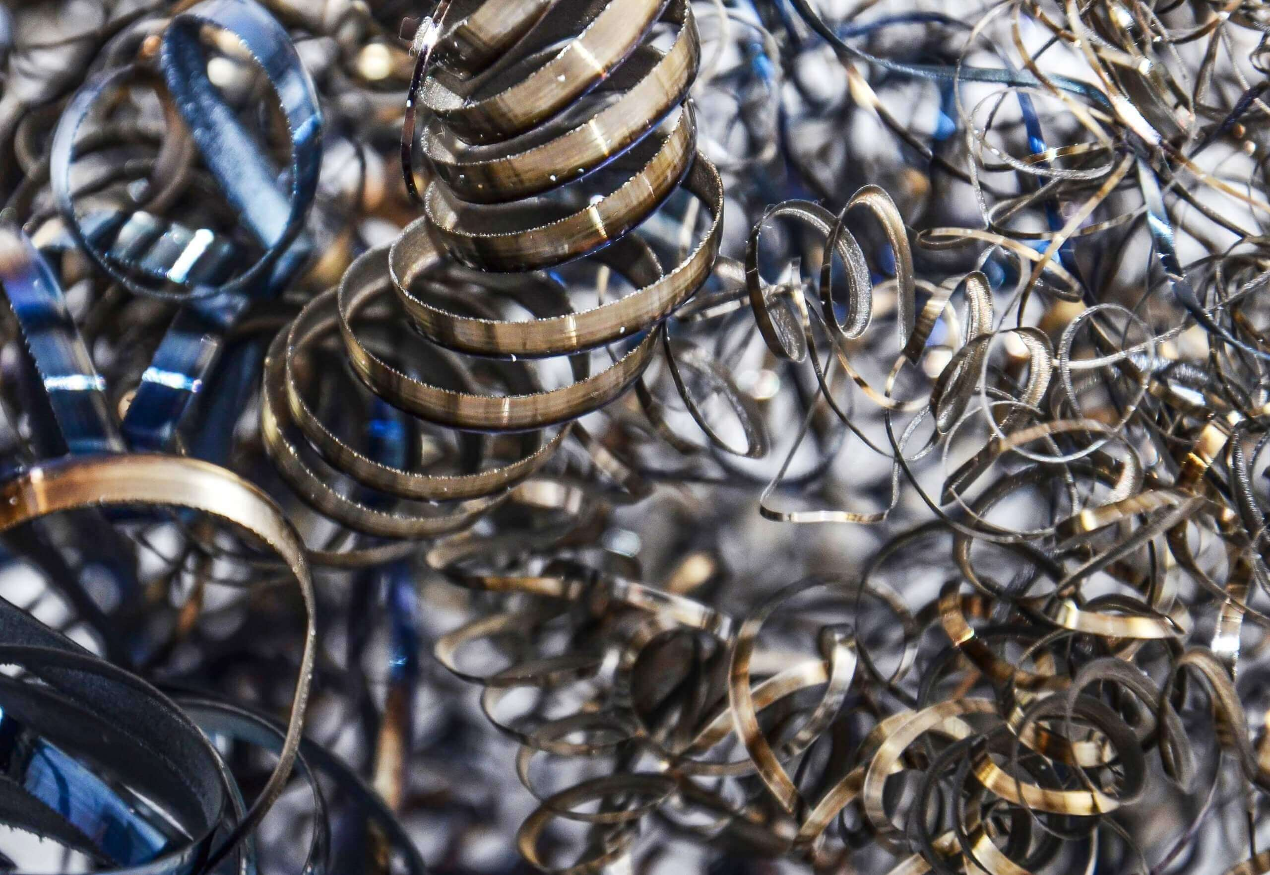 Metal shavings before the recycling process