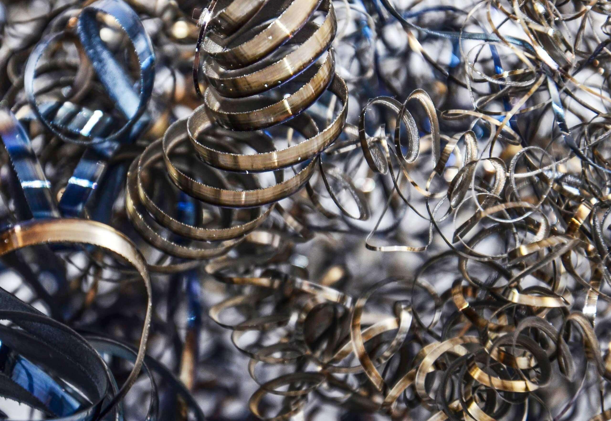Metall Späne vor dem Recyclingprozess