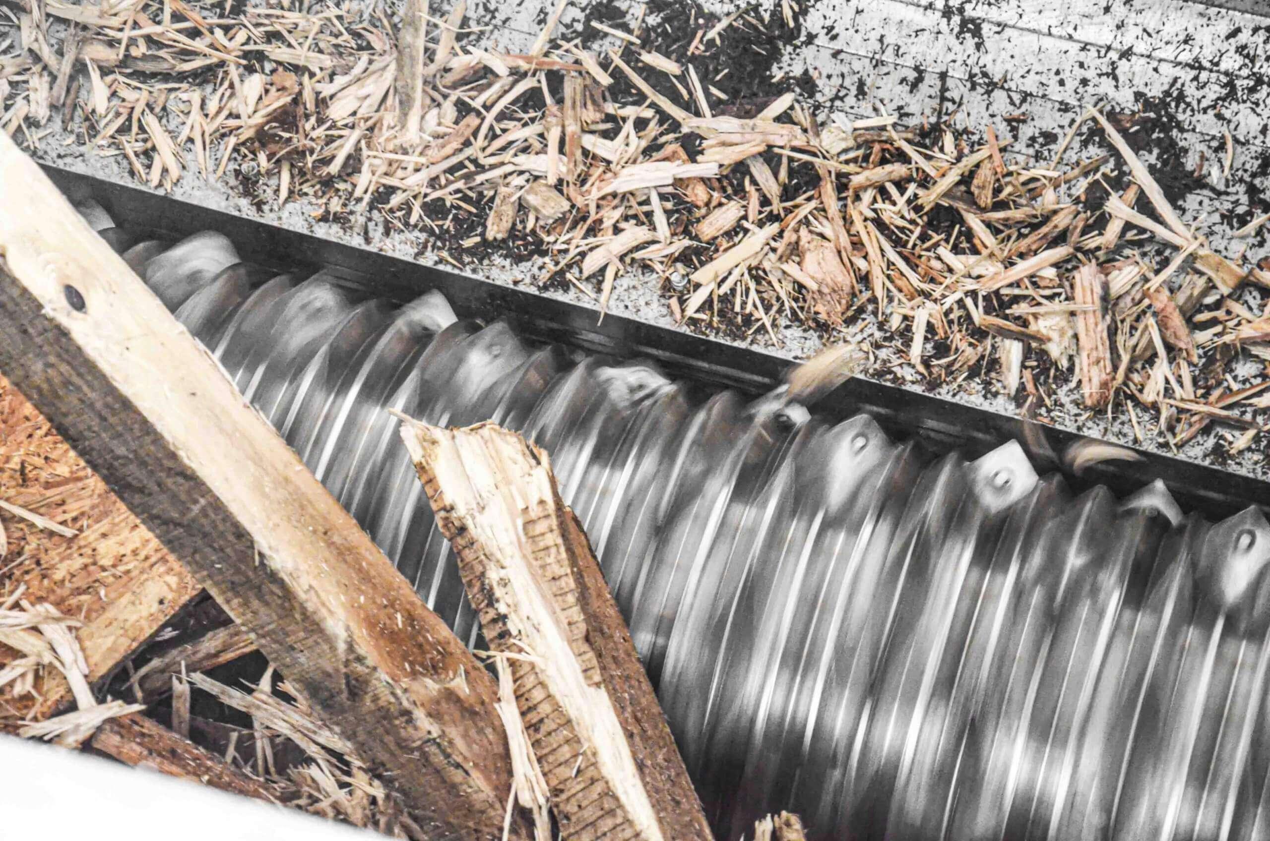 WEIMA rotor during wood shredding