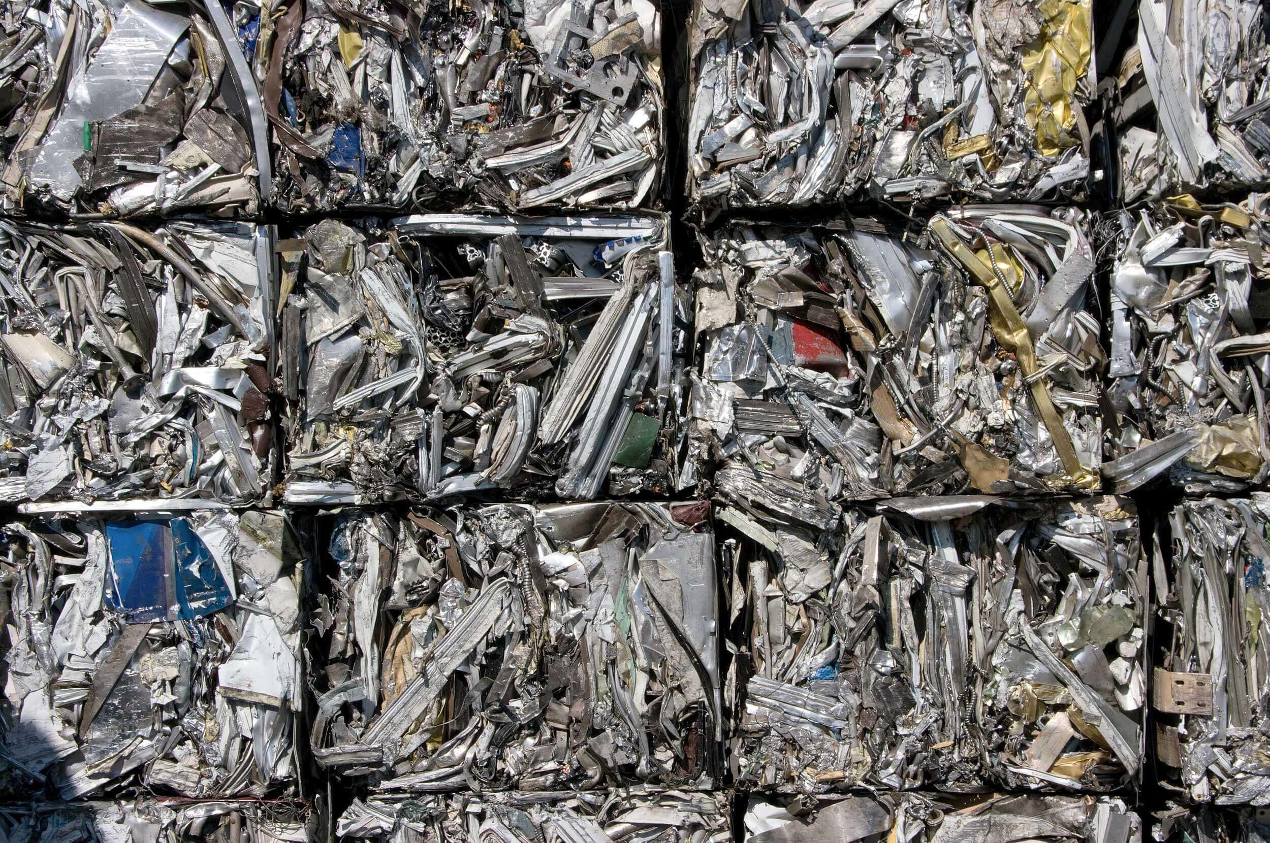 Scrap pressed into bales can be recycled by shredding