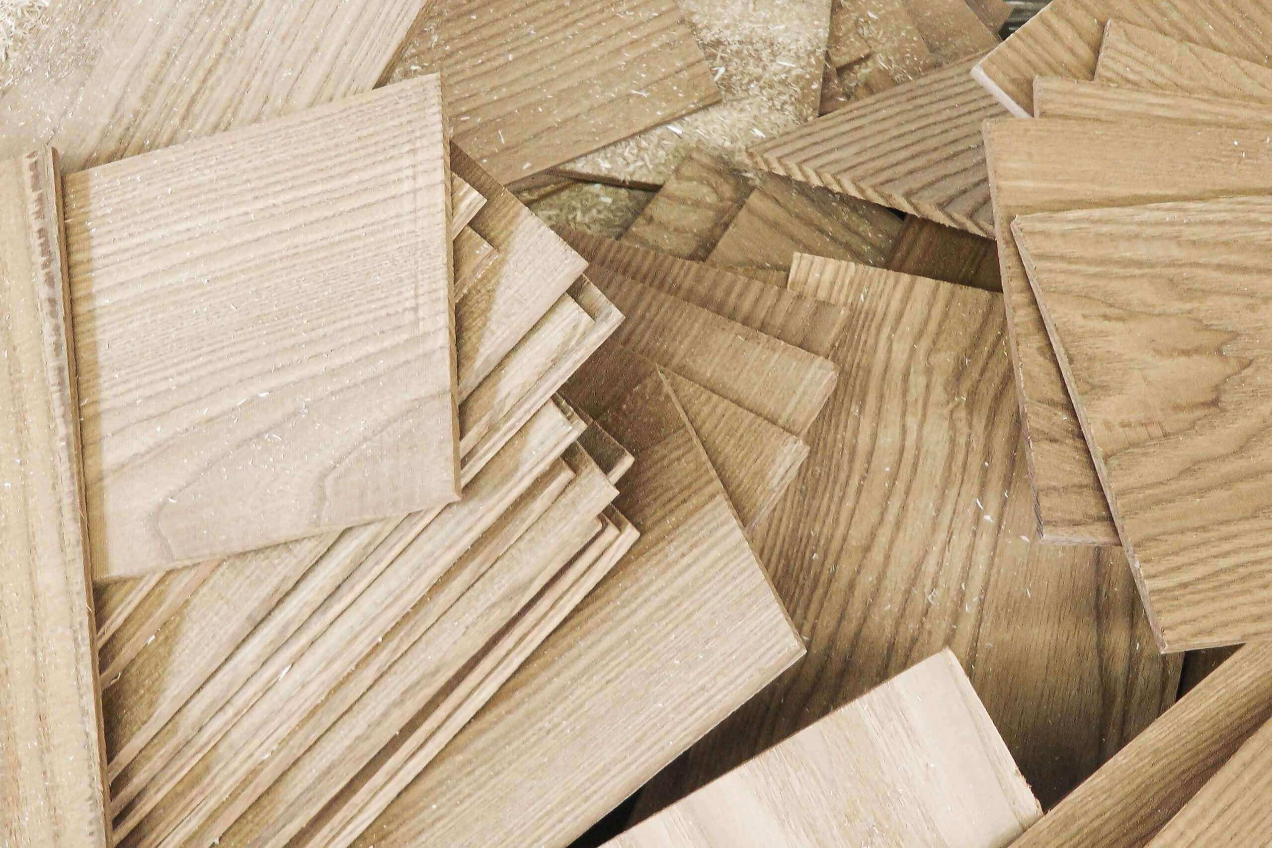 Wood waste such as plywood cuttings