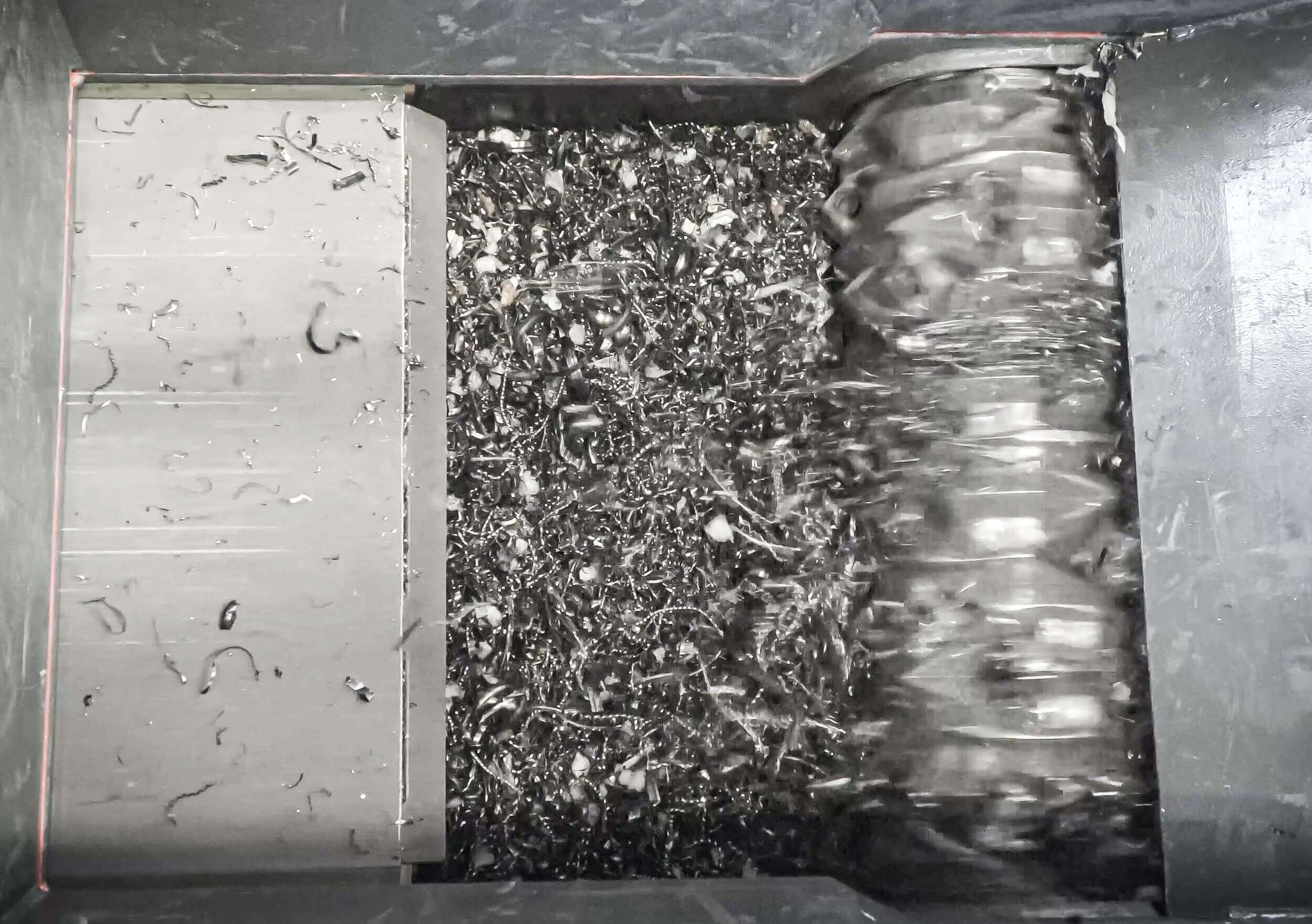 Shavings in the cutting chamber of the WEIMA shredder