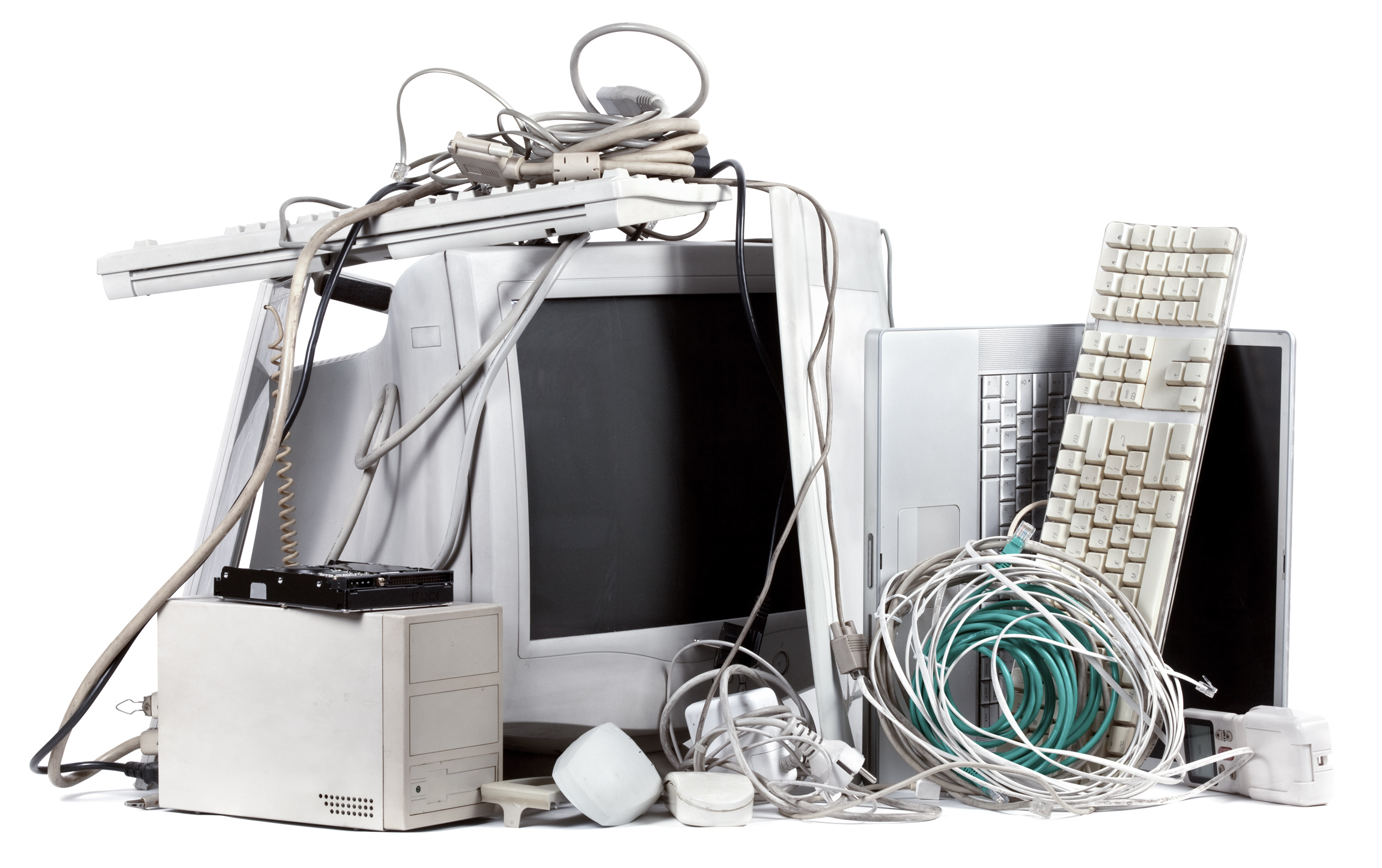 Computer, mouse, keyboard, cables, electronic waste, e-scrap, WEEE