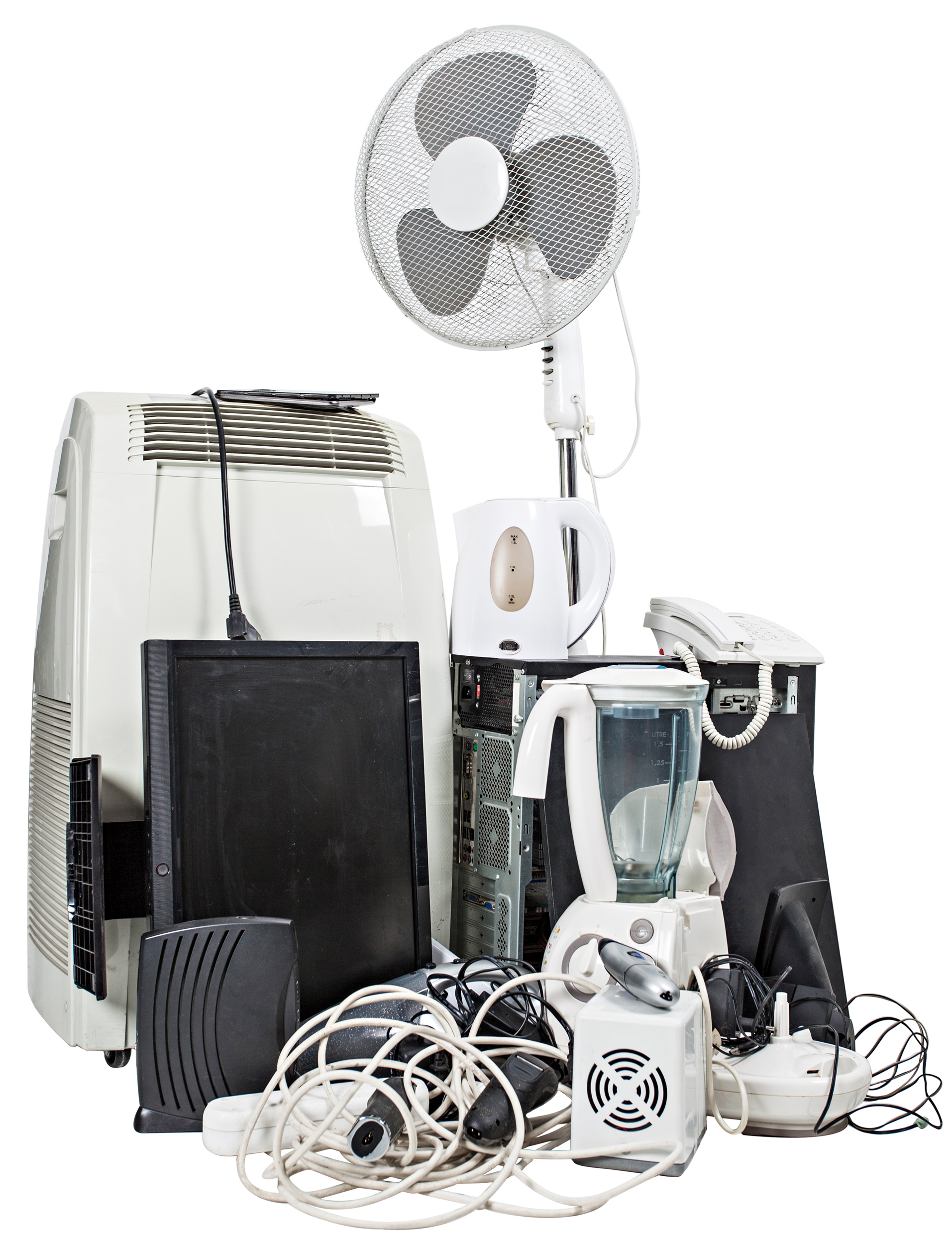 E- scrap with electrical appliances such as fans, air conditioners, mixers, telephone and kettle and TV