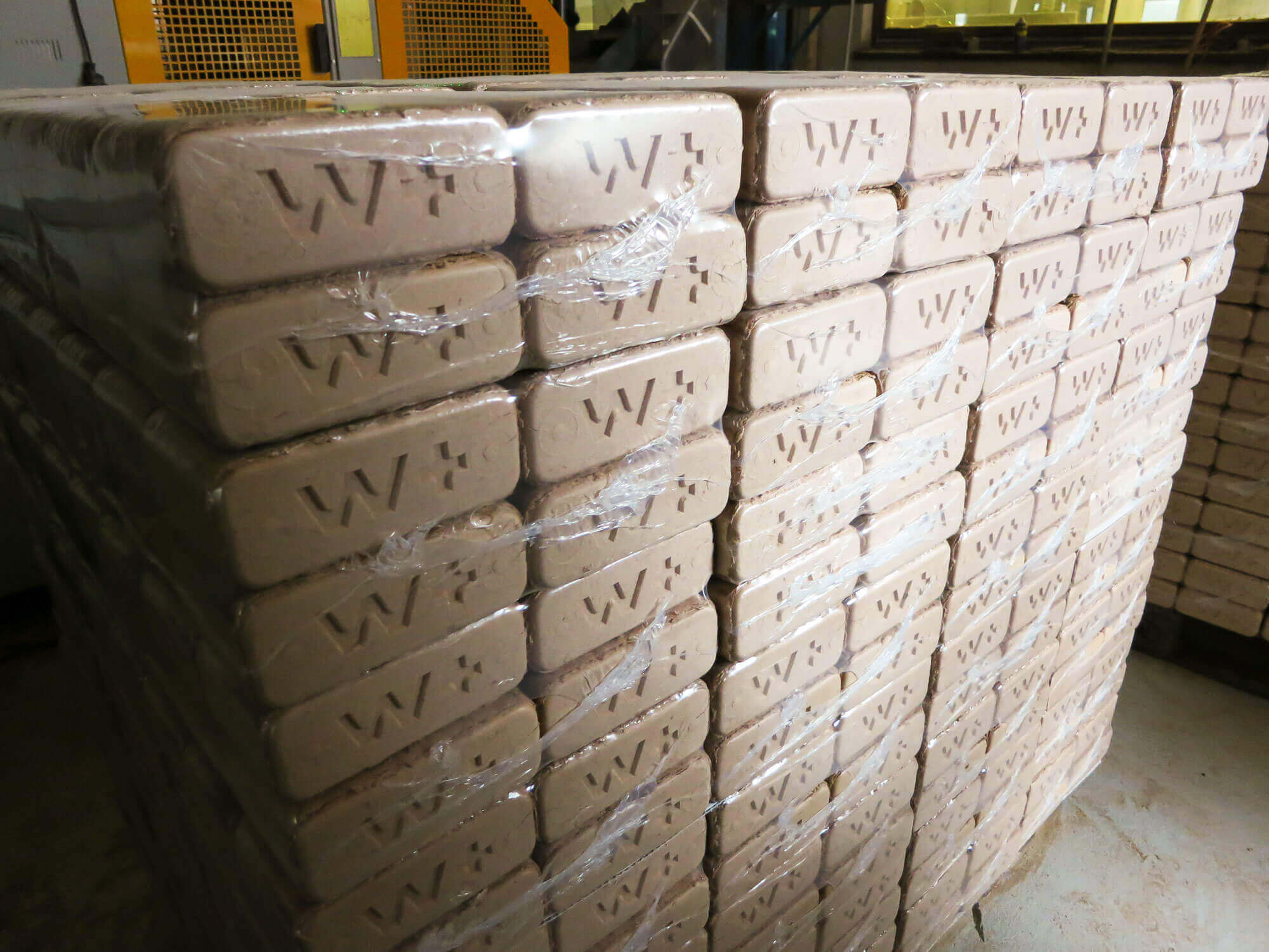 Packed high-density wood briquettes for sale