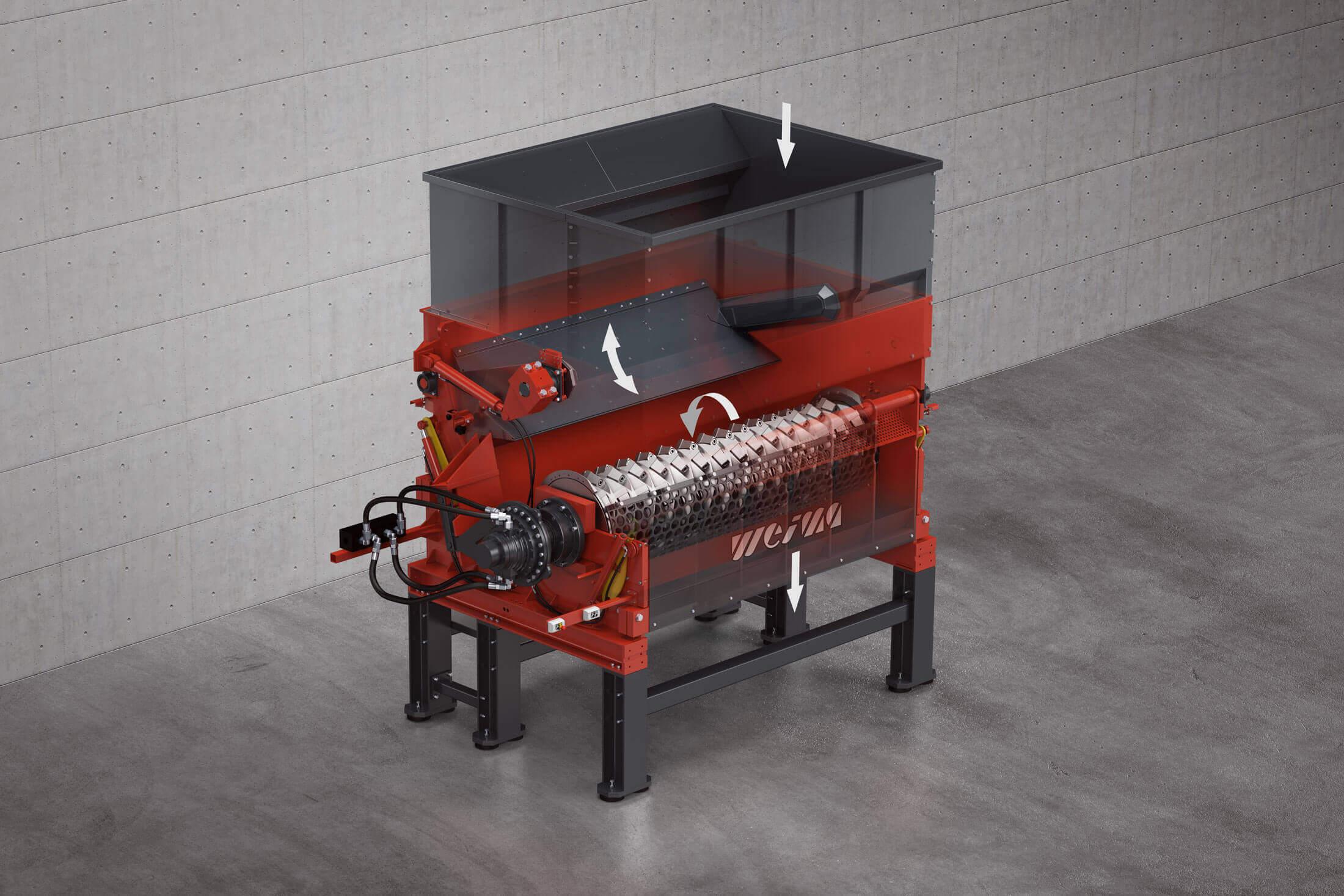 Gerendertes Bild des Einwellenzerkleinerers WEIMA PowerLine 3000 mit Röntgenansicht der Maschinenkomponenten