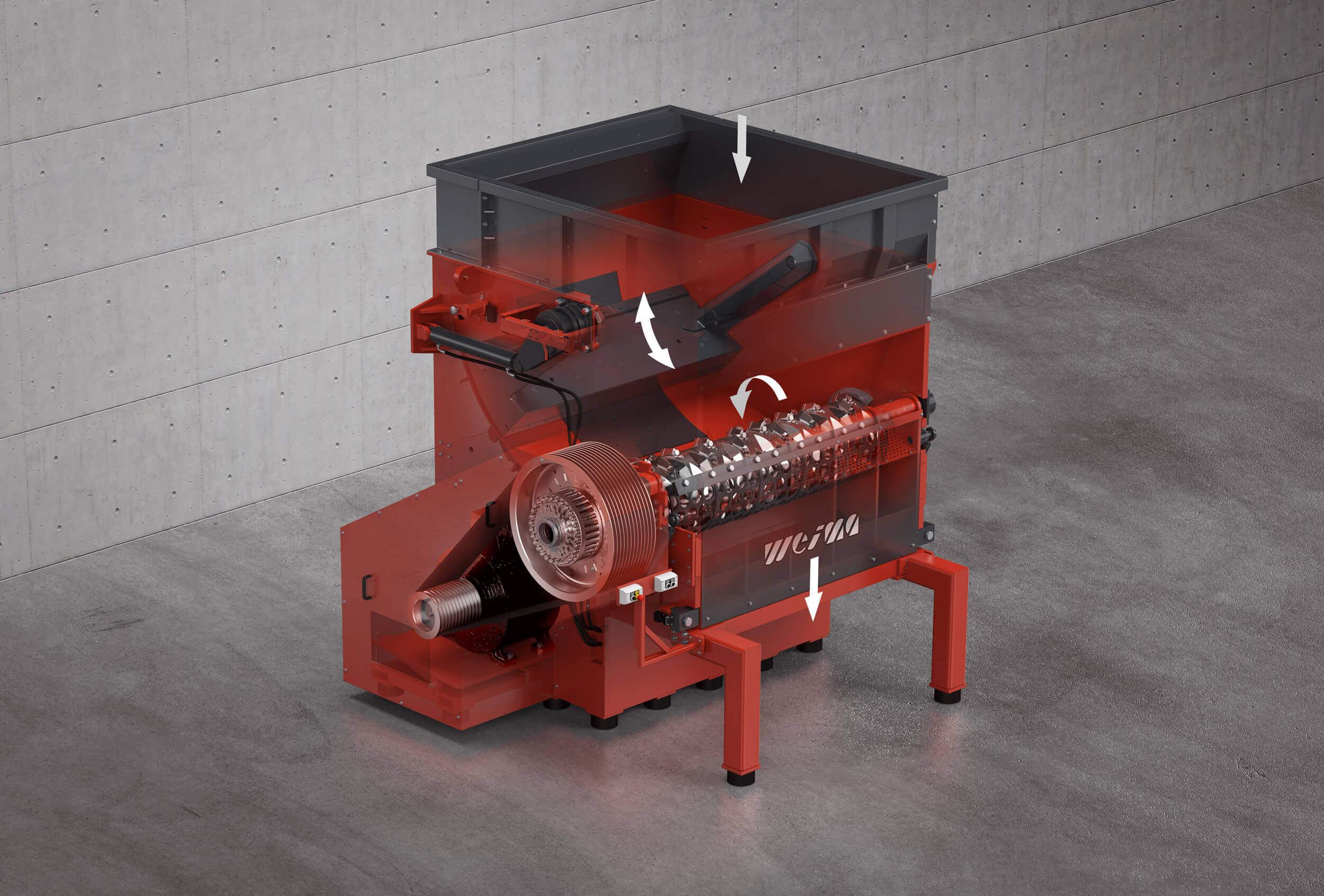 Gerendertes Bild des Einwellenzerkleinerers WEIMA WKS 1800 mit Röntgenansicht der Maschinenkomponenten