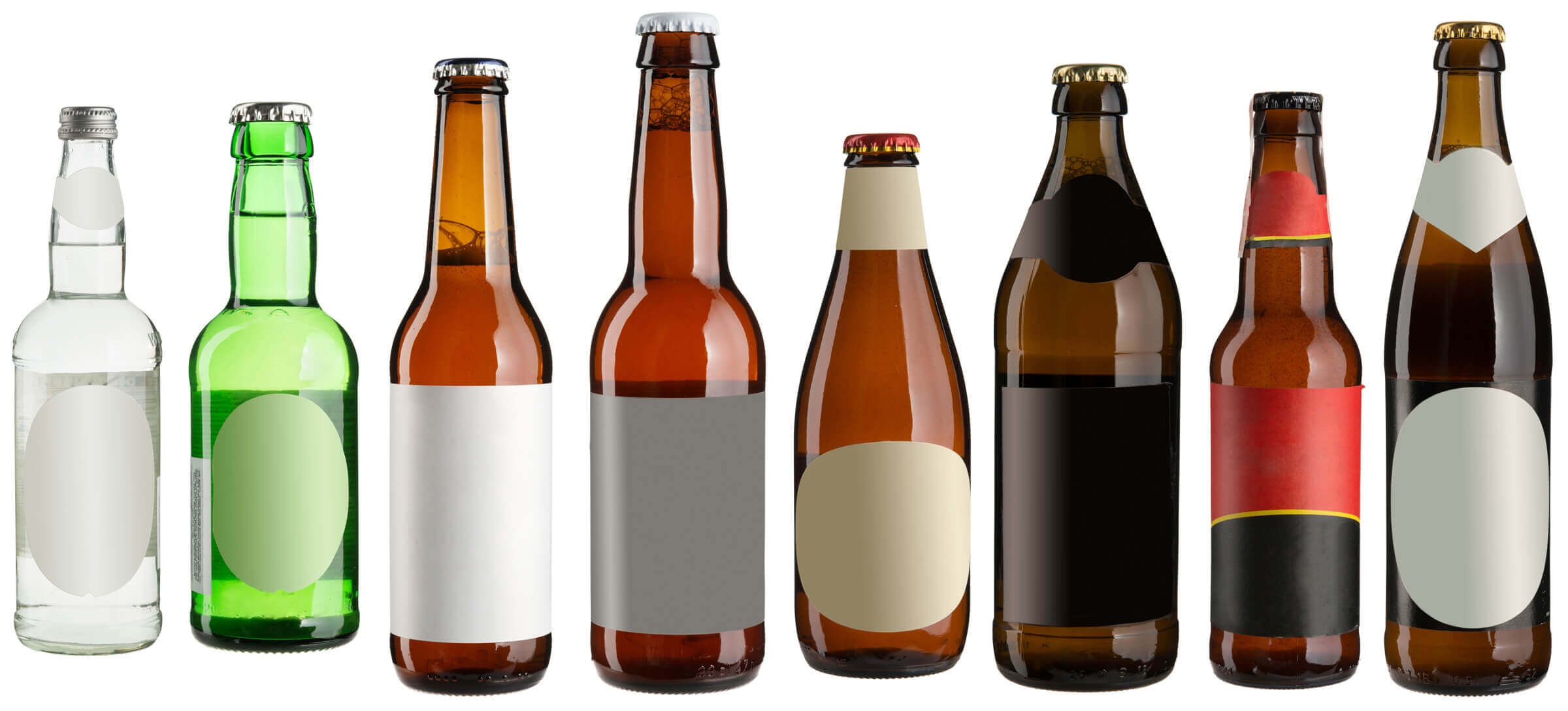 Glas bottles can have a variety of different labels