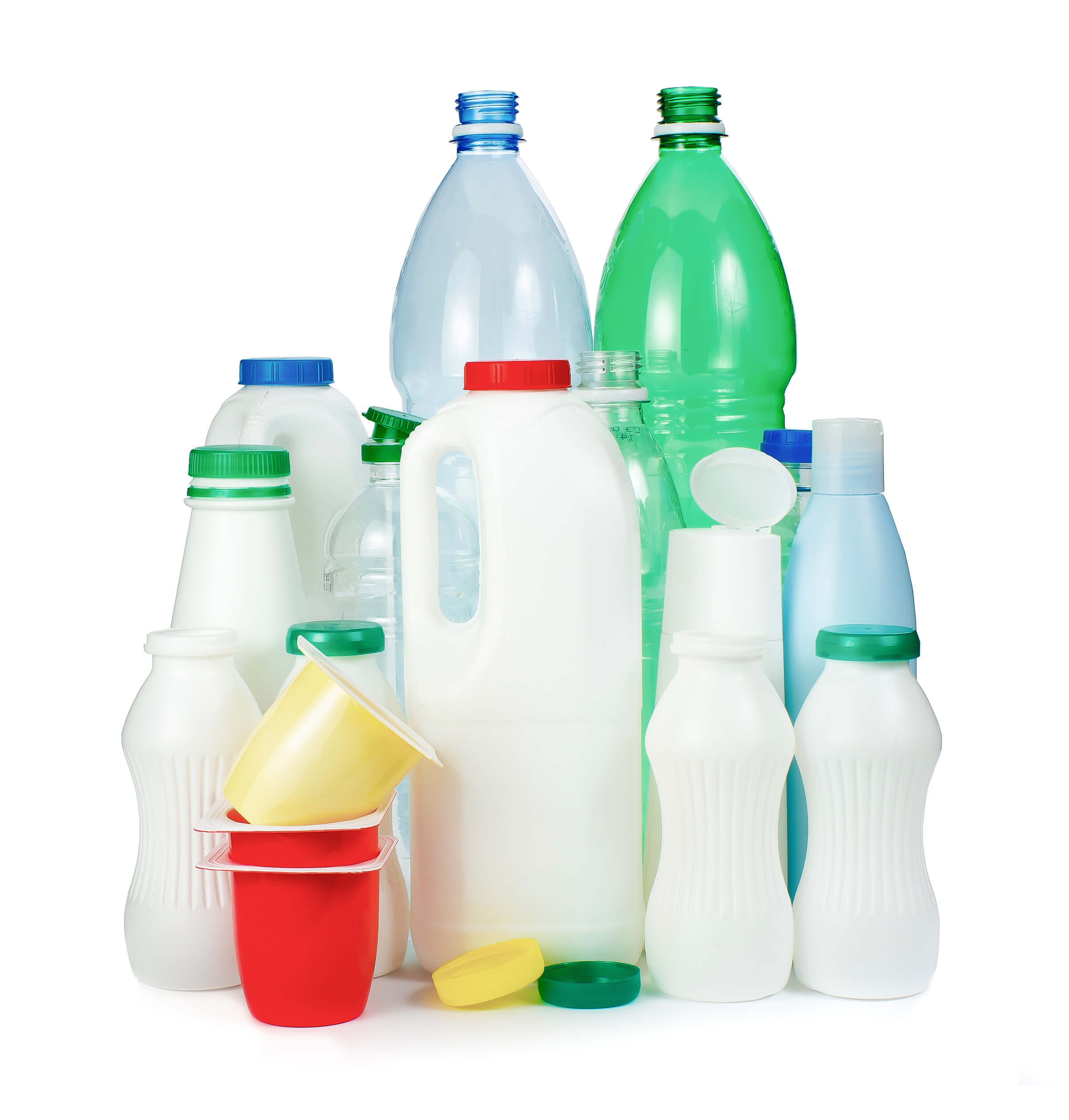 Different kinds of plastic containers and packaging