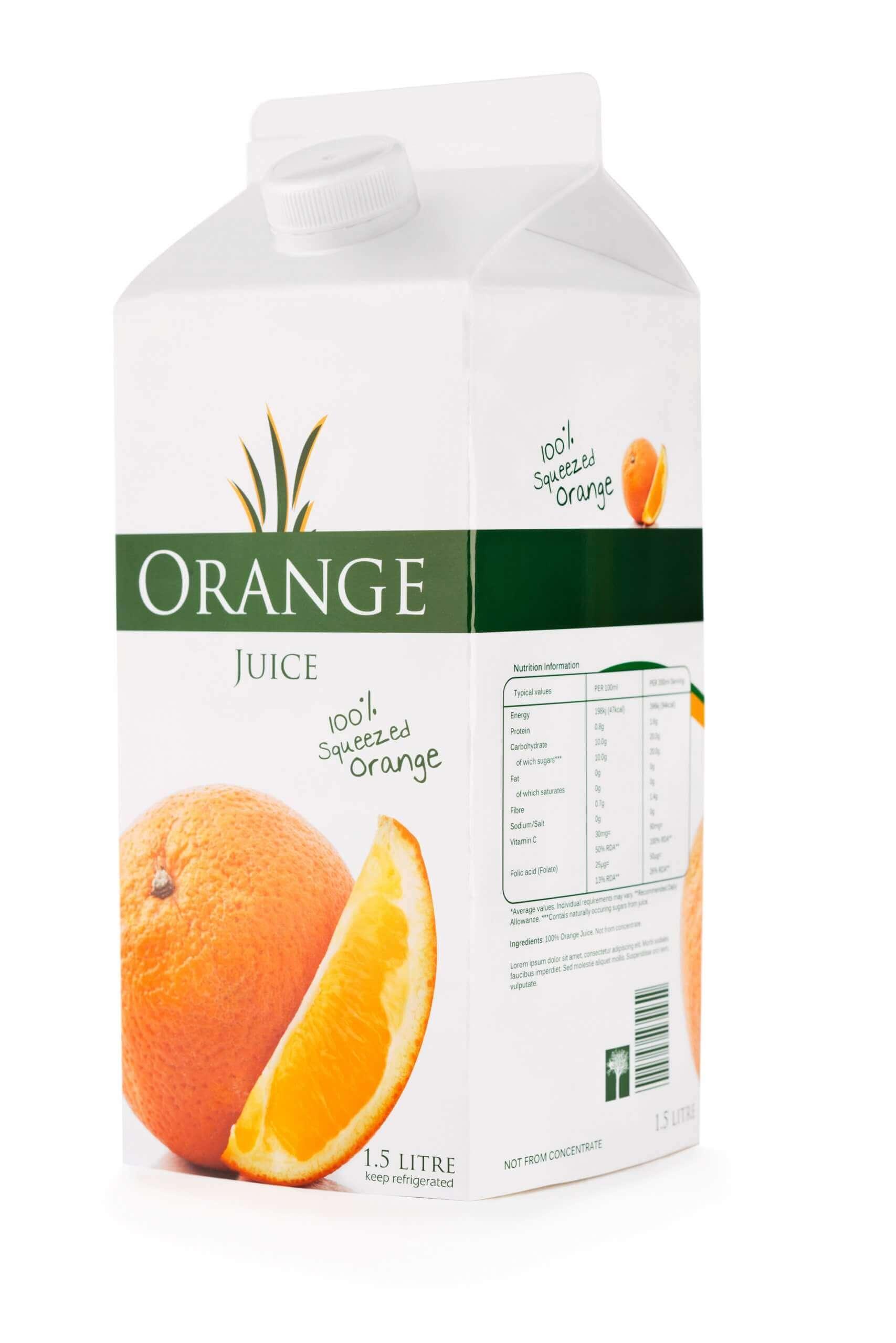 Orangensaft Tüten Einwegverpackung