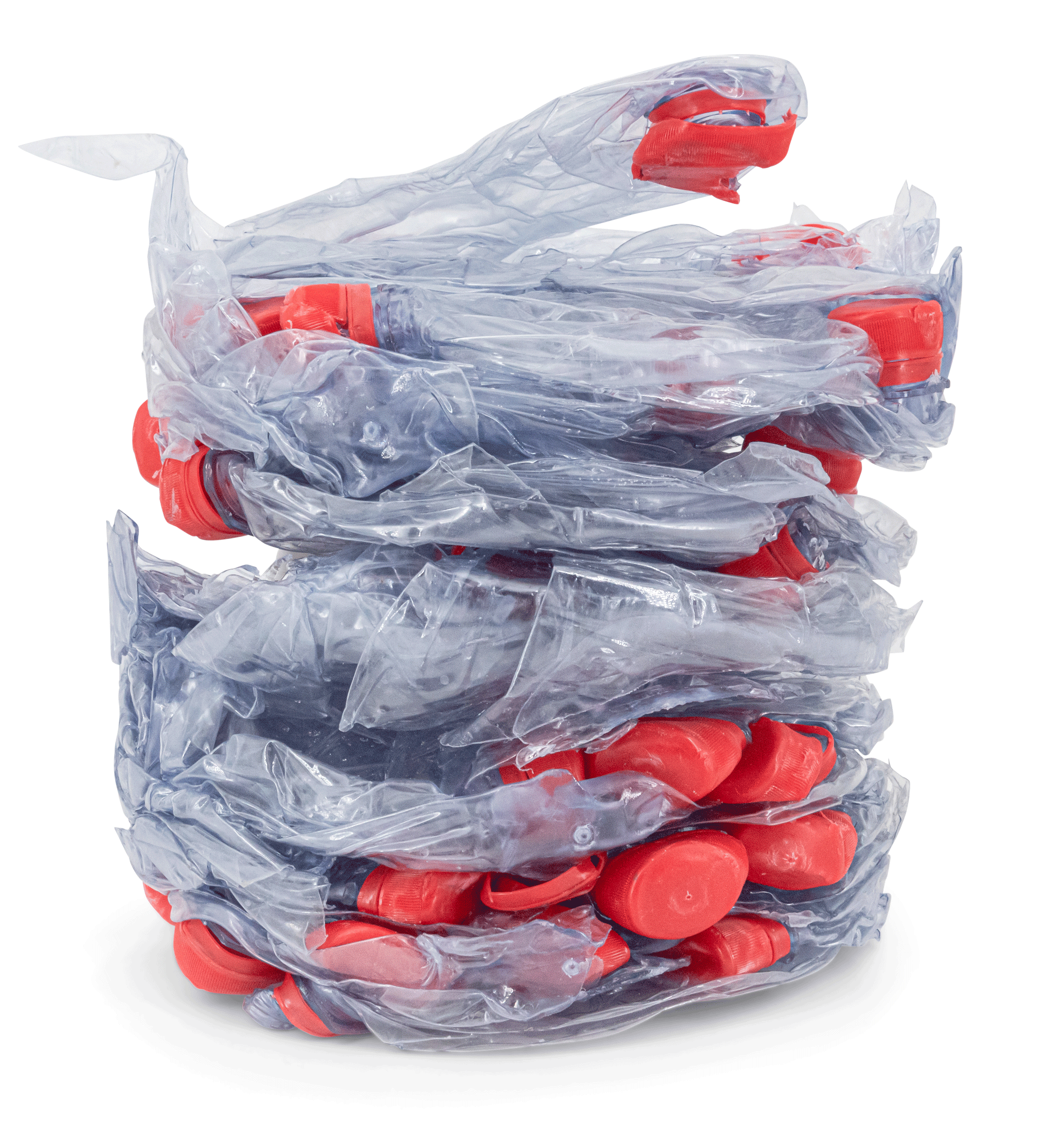 Compacted disks of plastic bottles
