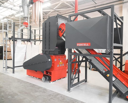 The neue Herbold granulator acts as the secondary shredder after magnetic separation