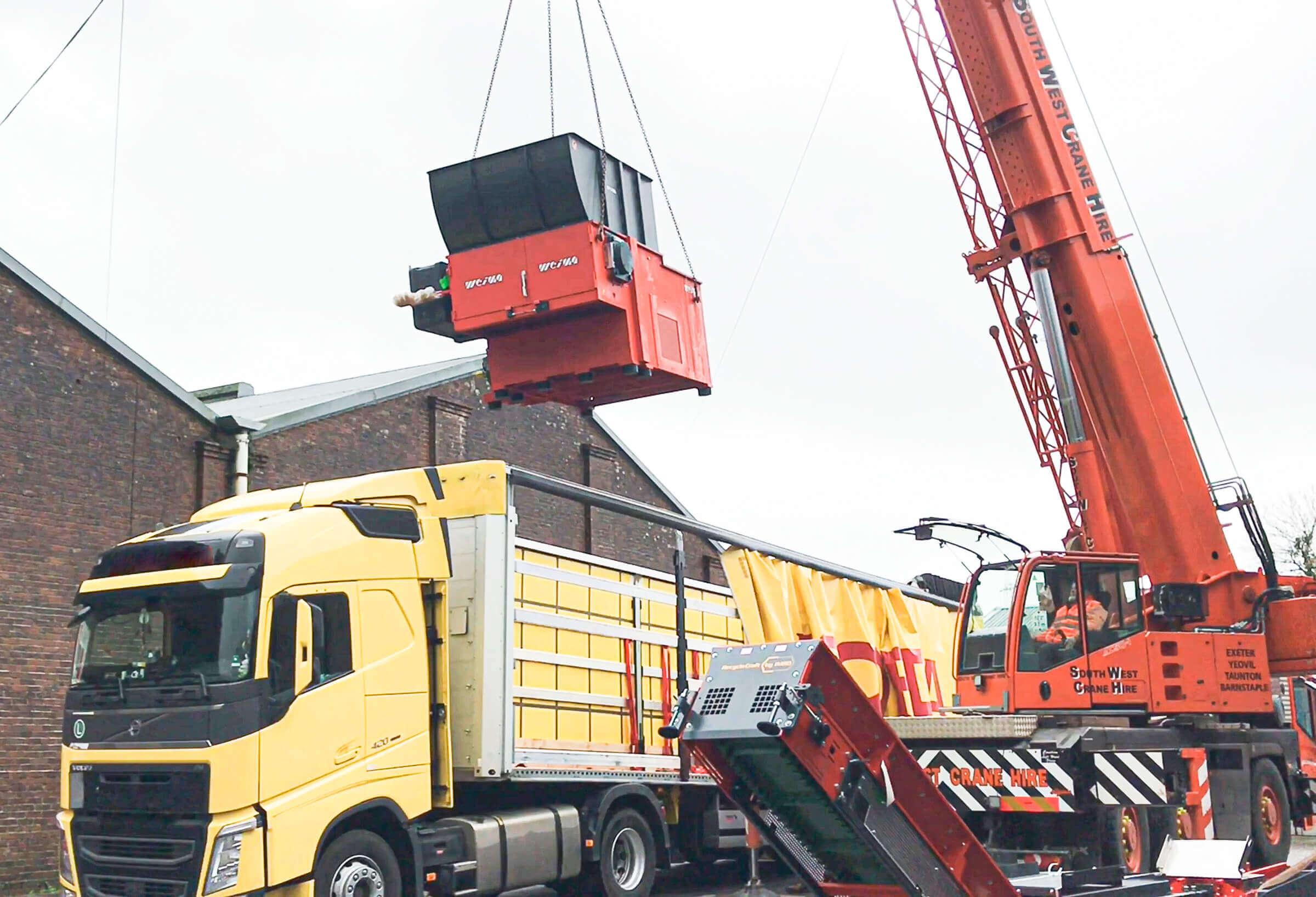 Transportation and logistics of WEIMA shredder in England