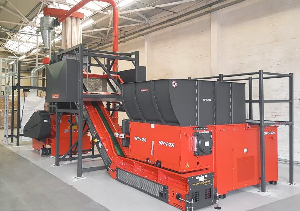 Two-stage shredding plant with WEIMA WLK 1500 single-shaft shredder and Neue Herbold granulator