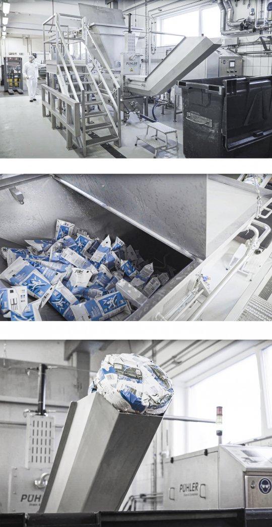 ReWork-Prozess bei Milchtüten mit PUEHLER ReWork Entwässerungspresse