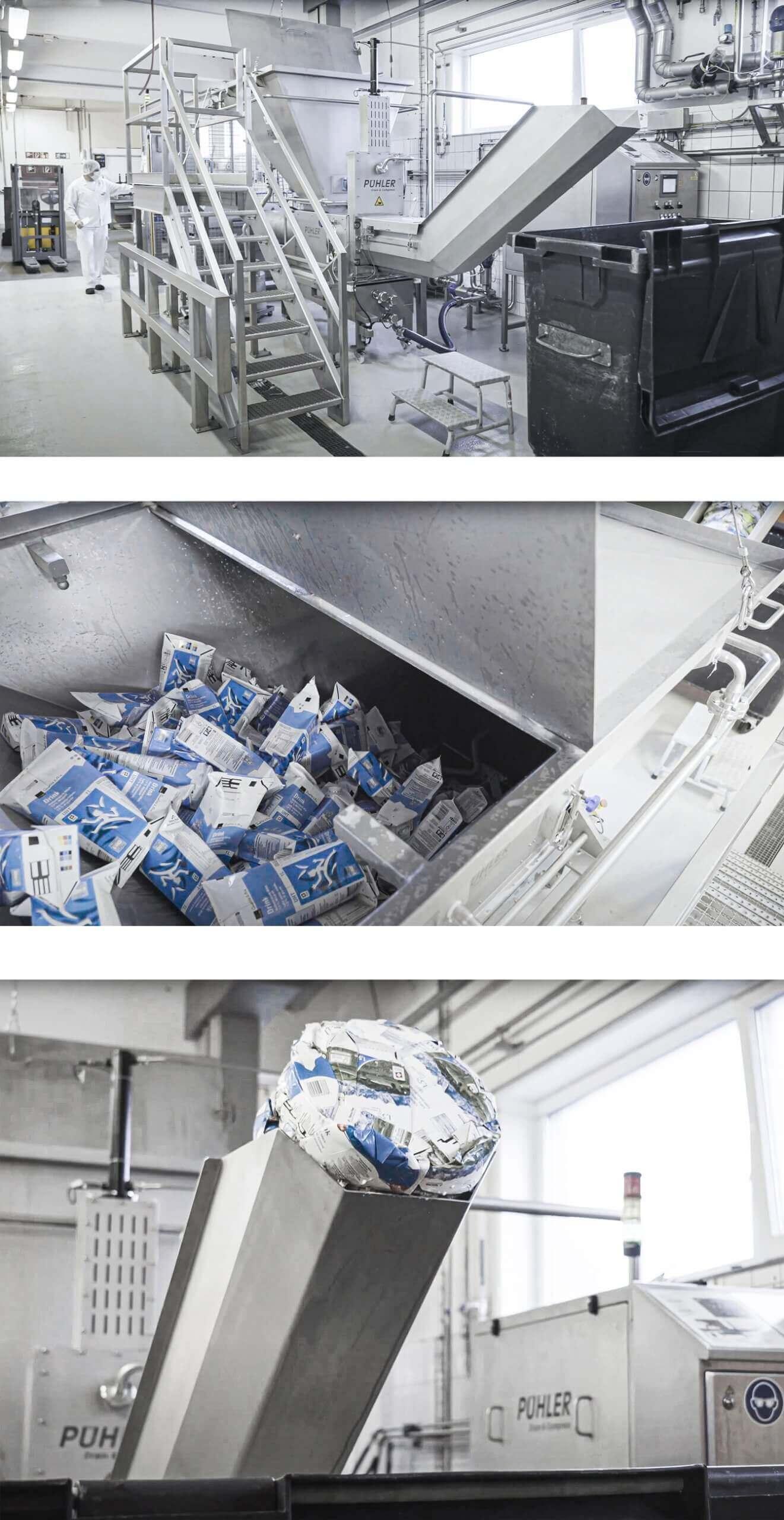 Draining and comapcting milk cartons during the rework process