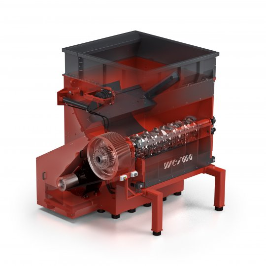 x-ray view of the WEIMA WKS single-shaft shredder