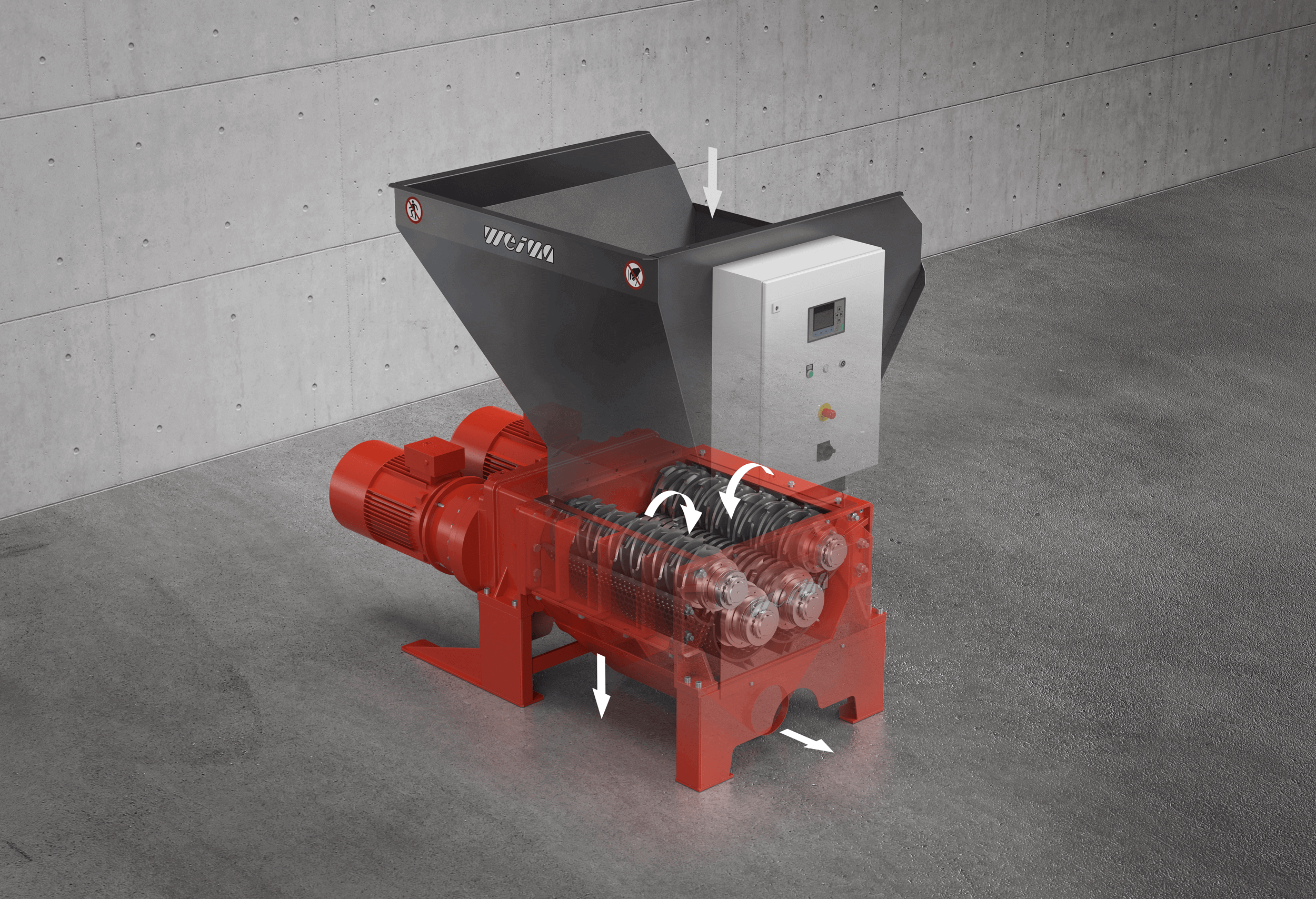 X-ray view of the WEIMA ZM 40 four-shaft shredder