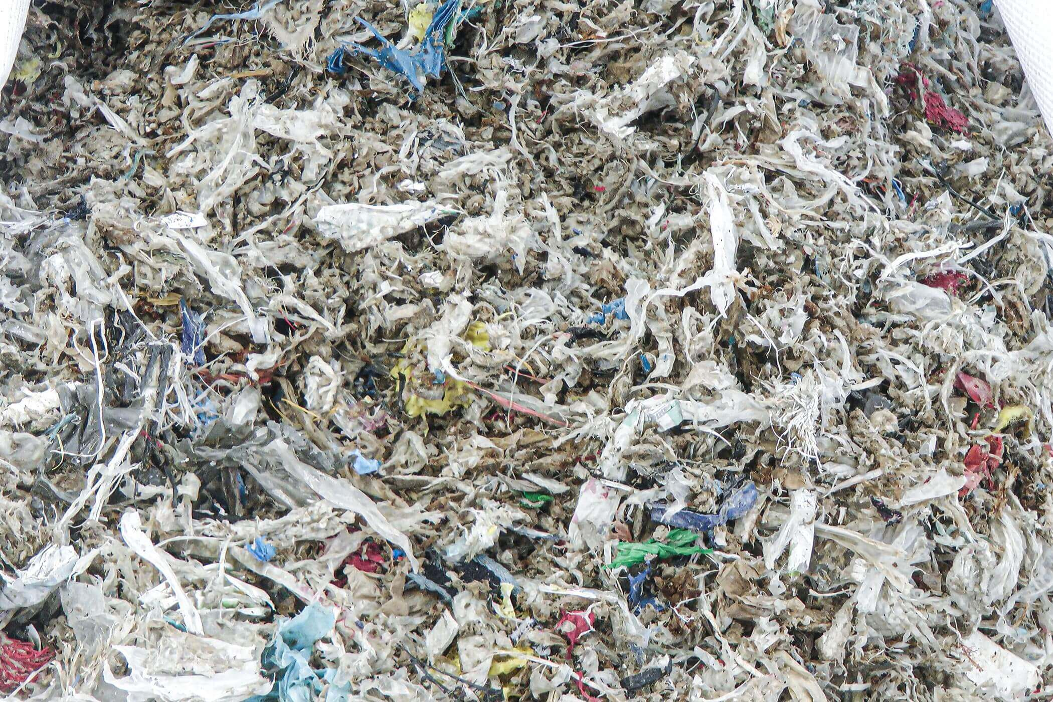 Shredded rejects of plastic, metal