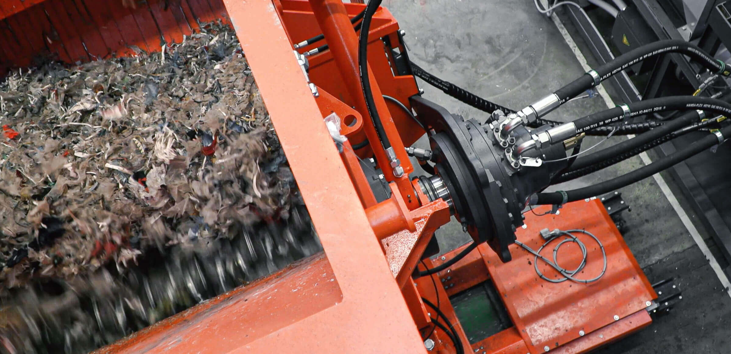 Shredding pulper ropes with shredders equipped with Hägglunds hydraulic drive