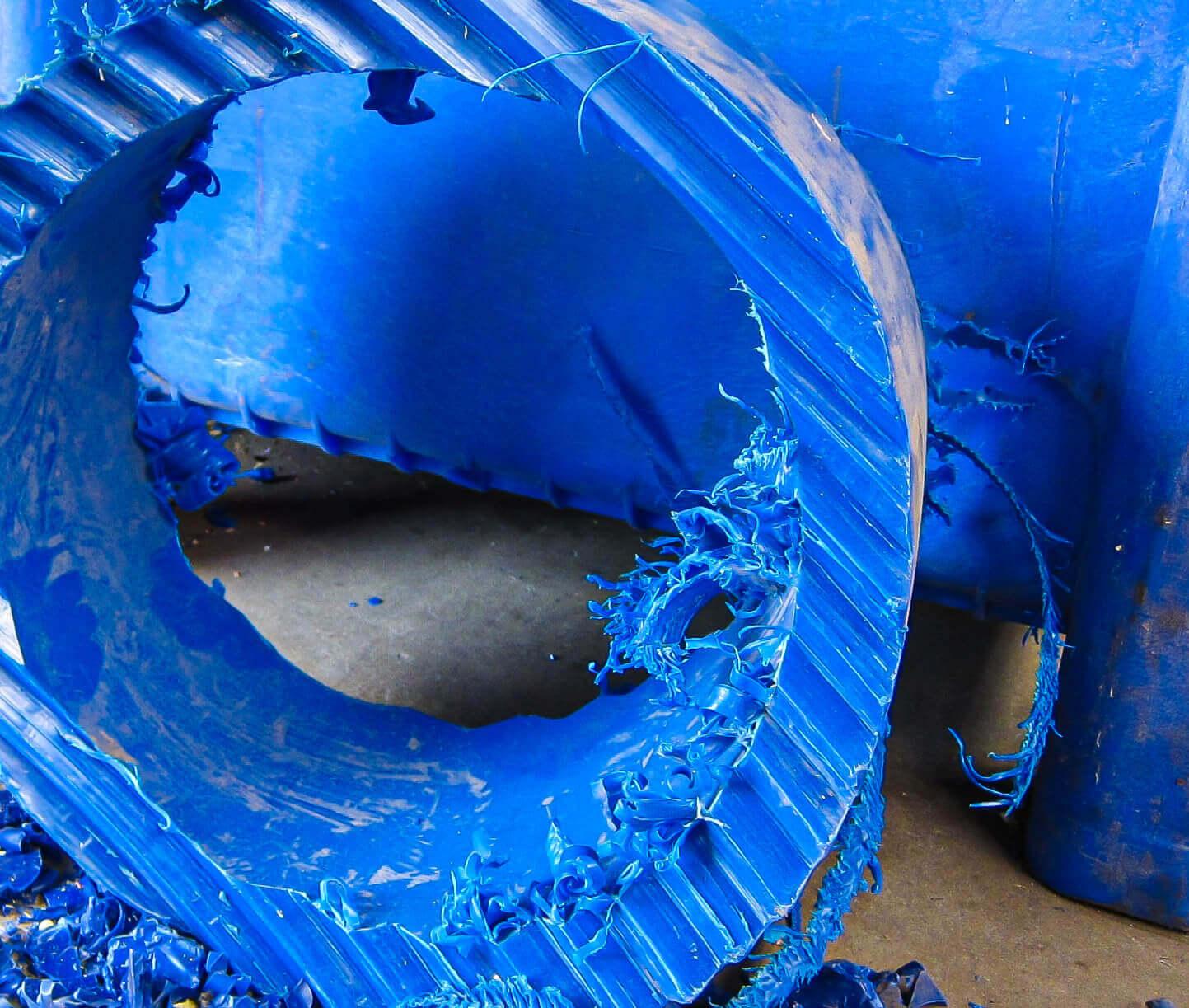 Huge shredded piece of Polypropylene pipe