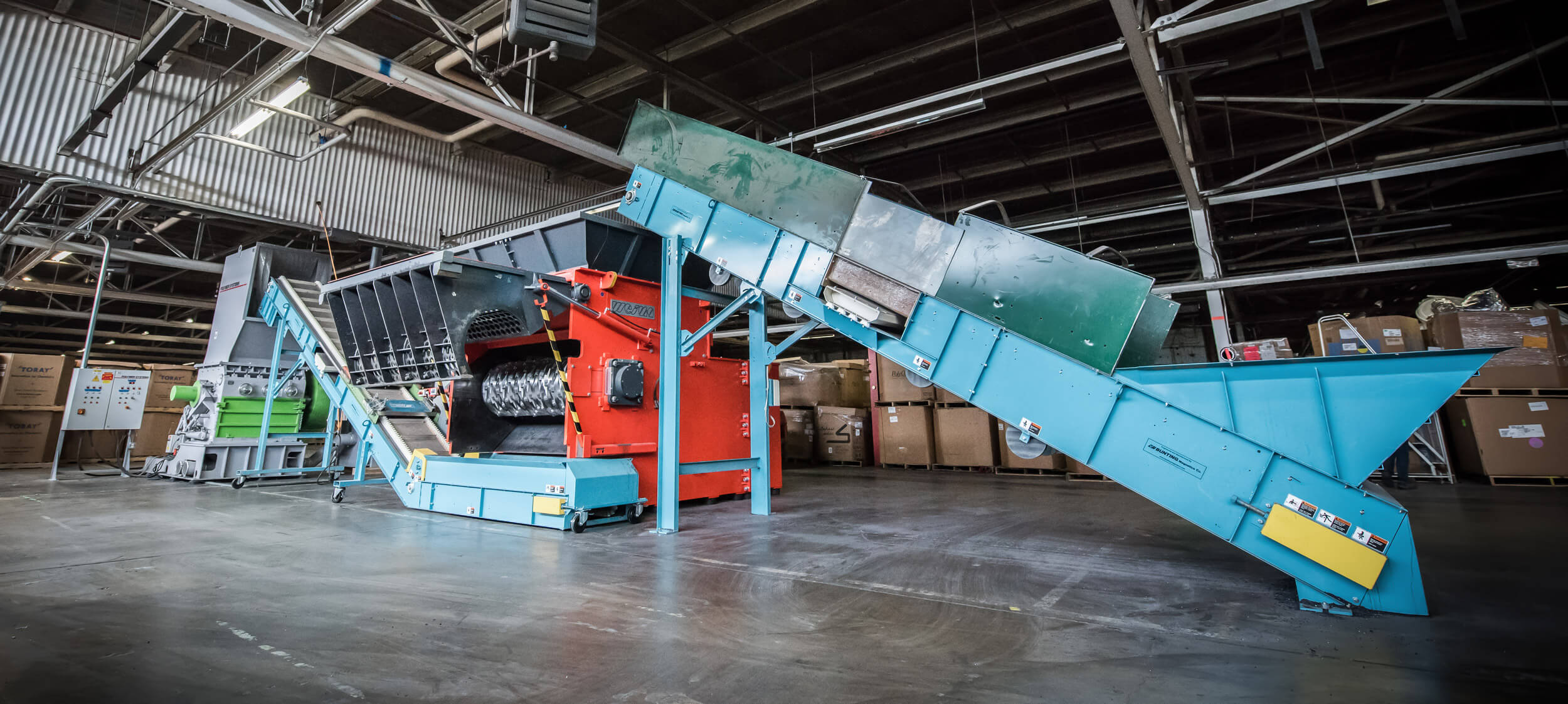 Combination of WEIMA shredder and granulator for plastic pipe recycling