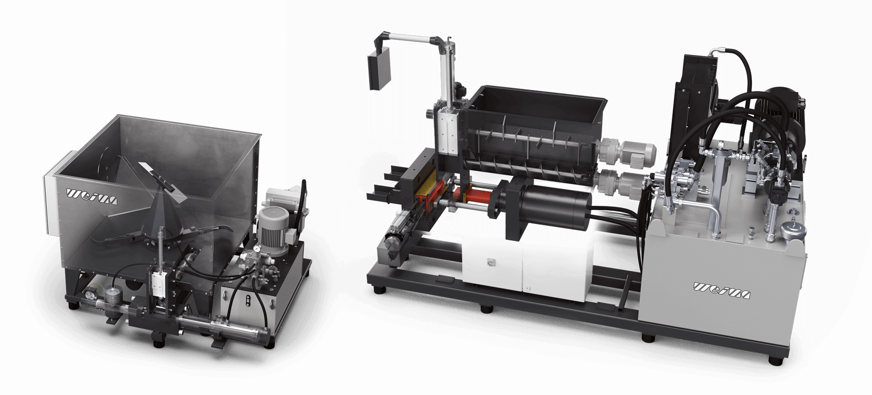 two models of WEIMA briquette presses sit side by side