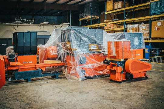WEIMA machinery is staged in a warehouse and is ready to ship.