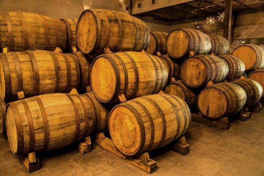wooden barrels stacked in storage cellar