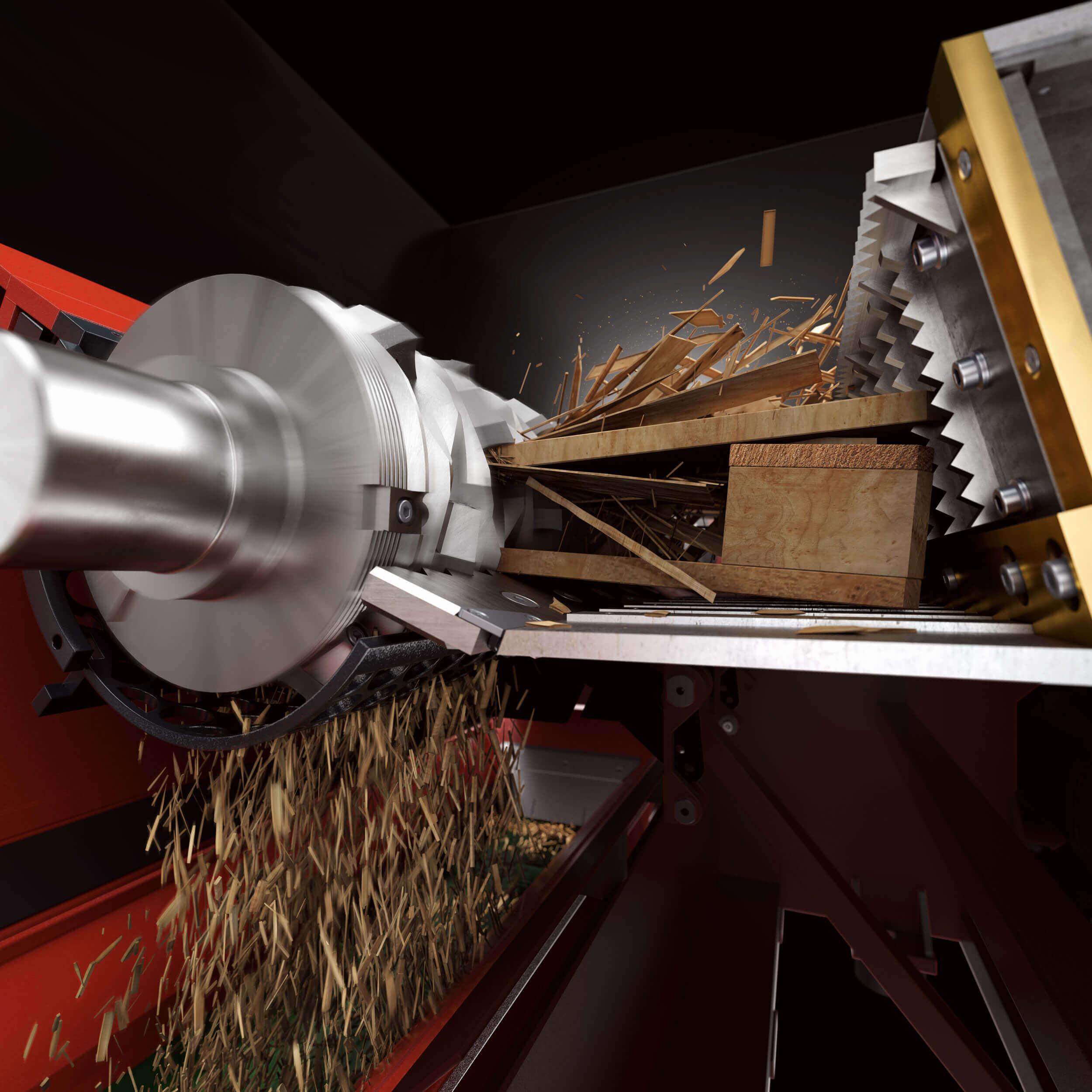 Detailed rendering of shredding process with WEIMA WLK 1500 single-shaft shredder